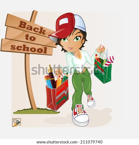 The cute schoolgirl coming from store have bag filled up with writing materials.  - stock vector