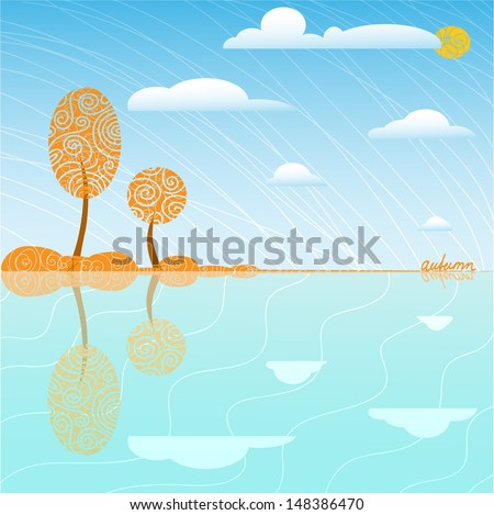 the cute simple landscape with autumn trees and clouds - stock vector