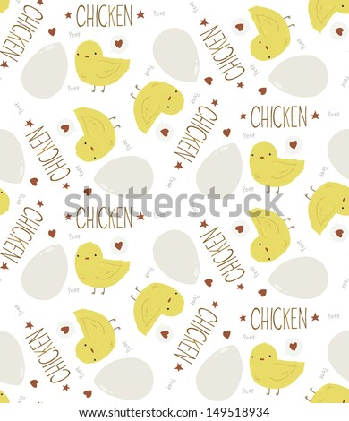 The Cute Yellow Baby Chicken seamless background pattern. The vector ...