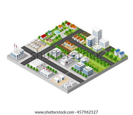 The 3D perspective view of a set of objects of industrial plants, factories, parking lots and warehouses. Isometric view from above the city with streets, buildings and trees.