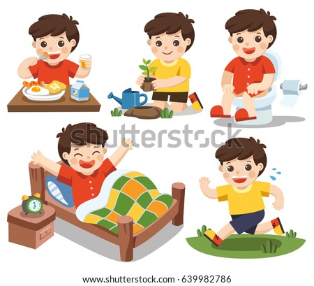 Daily Routine Cute Boy On White Stock Vector 639982786