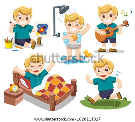 The daily routine of A cute boy on a white background.[wake up, take a shower, Drawing, Play guitar, run]. Isolated vector