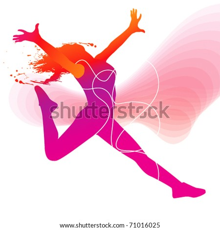 The dancer. Colorful silhouette with lines and sprays on abstract background. Vector illustration. - stock vector