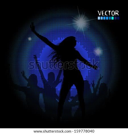 The dancing girl in a disco - stock vector