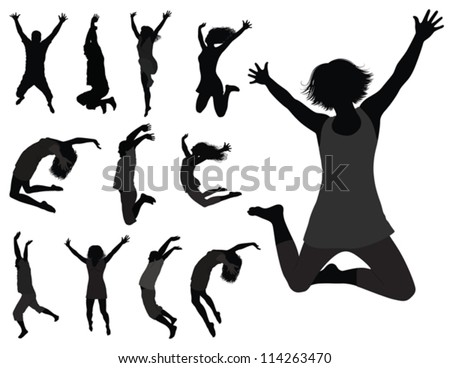 The Dancing Young People. Vector Silhouettes Of Boys and Girls in Jumping. To see similar, please visit MY PORTFOLIO. - stock vector