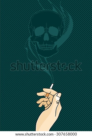 The danger of a cigarette - stock vector