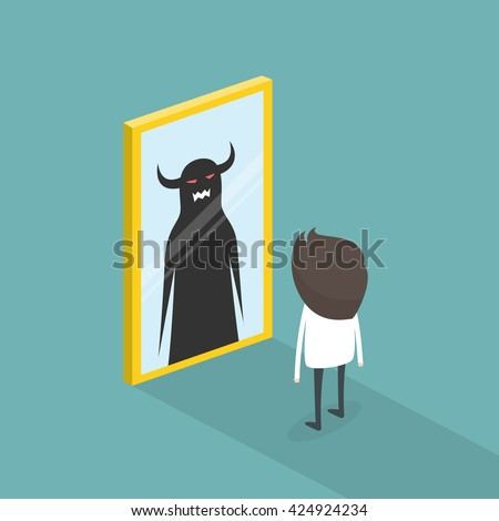 The dark side of human. The mirror concept. vector illustration - stock vector