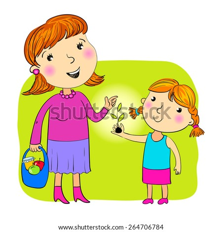 The daughter giving to mother a sprout - stock vector