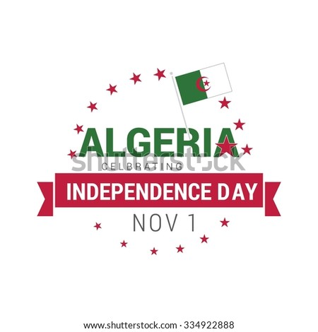 The Day of Algeria, Vector Algerian Independence Day Celebrating 1st November. Celebration Card. Ribbon banner. background wallpaper Illustration - stock vector