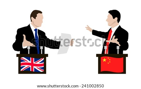 The debate between the speakers. Rhetoric, negotiations and disputes between the parties. Negotiations. Flag. Vector. Icon.  China, United Kingdom - stock vector