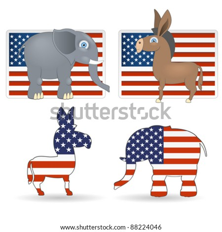 The democrat and republican symbols - donkey, elephant and flag of USA - stock vector