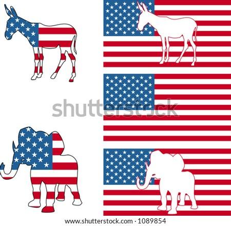 Democrat Republican Symbols Donkey Elephant American Stock Vector