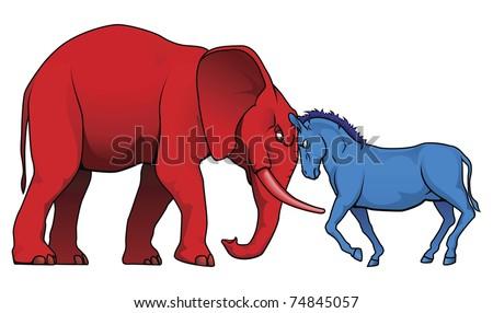 Democrat Republican Symbols Donkey Elephant Facing Stock Vector