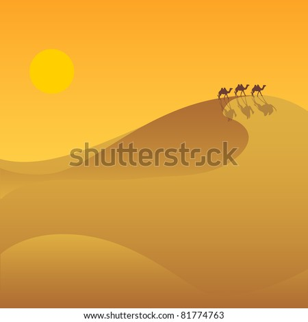 The desert valley with a caravan of camels. - stock vector