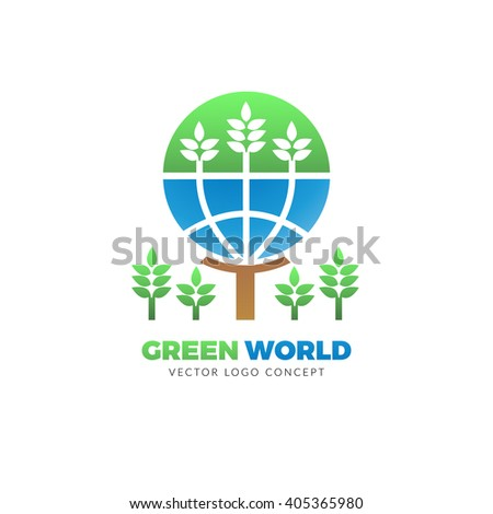 The design is suitable for all ecology related businesses, innovative materials and technologies, water, fresh food and nature. Green leafs and globe Eco icons. - stock vector