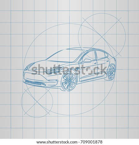 Design electric car drawing on blueprint stock vector 709001878 the design of a electric car drawing on a blueprint vector illustration malvernweather Image collections