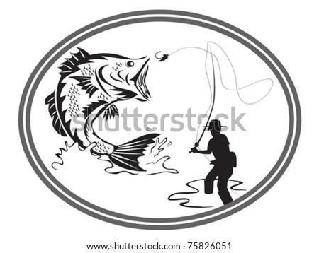 the design of fishing bass emblem - stock vector