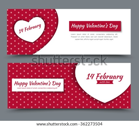 The design of red and white banners with hearts and dots on a background of Valentine's Day. Vector illustration. Set. - stock vector