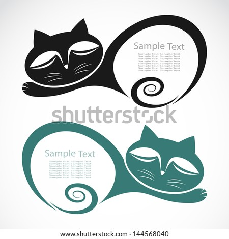 The design of the cat on white background - stock vector