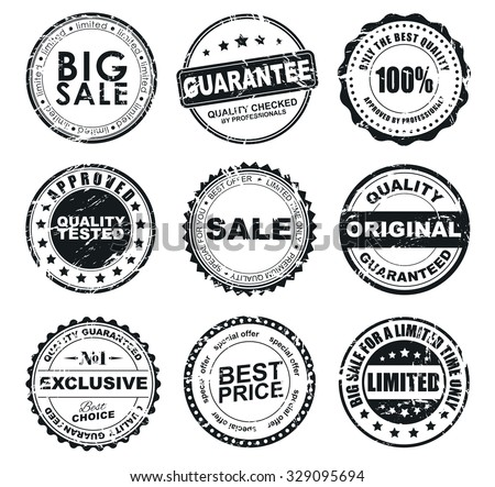The design of the old worn round stamps for sale. Stamps to designate a quality product, sales, discounts. Vector illustration. Set - stock vector