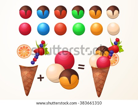 The designer of ice cream, a lot of different flavors, assemble ice cream. - stock vector