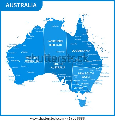 Detailed Map Australia Regions States Cities Stock Vector - Australia map with cities