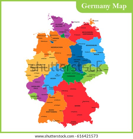 the detailed map of the germany with regions or states and cities capitals