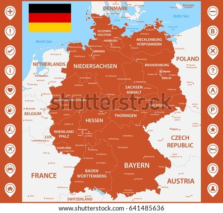 the detailed map of the germany with regions or states and cities capitals with