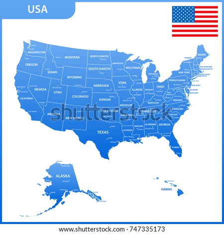 Detailed Map Usa Regions States Cities Stock Vector - Map of the united states with cities