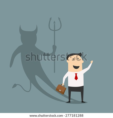 The Devil businessman concept with a cartoon businessman holding a briefcase and waving casting a shadow of a horned Devil showing his true personality - stock vector