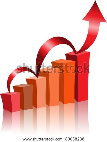 The diagram with the red arrow directed upwards - stock vector