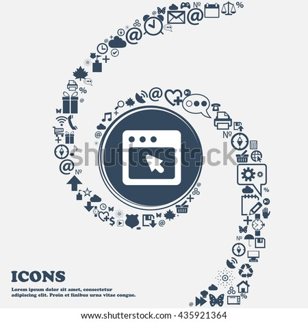 the dialog box icon sign in the center. Around the many beautiful symbols twisted in a spiral. You can use each separately for your design. Vector illustration - stock vector