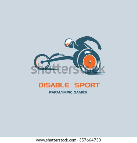 The disabled person athlete in a wheelchair. Paralympic games. Vector logo. - stock vector