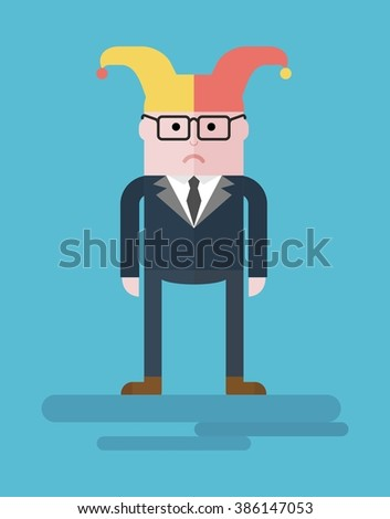 The disappointment in yourself. Businessman clown and a buffoon. Conceptual image of a businessman character. Cartoon flat vector illustration. Objects isolated on a background.