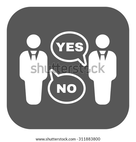 The dispute icon. Dialog and  negotiation, discussion symbol. Flat Vector illustration. Button - stock vector
