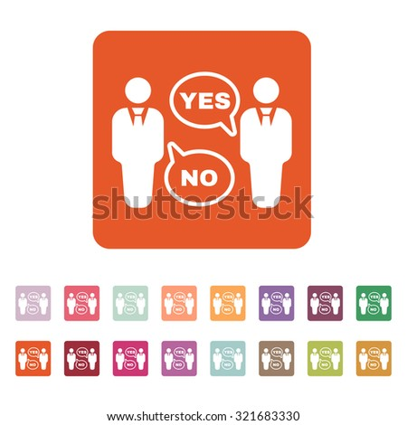 The dispute icon. Dialog and  negotiation, discussion symbol. Flat Vector illustration. Button Set - stock vector