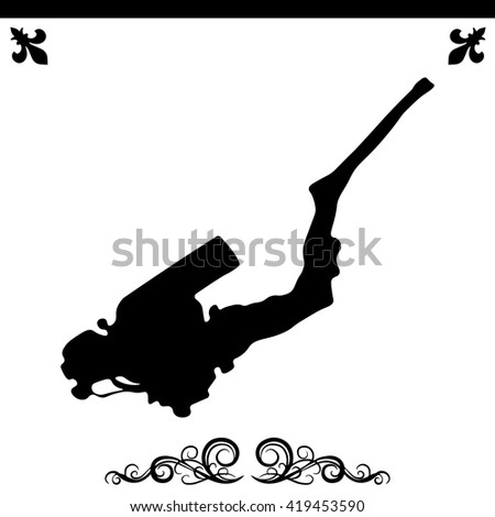 The diver icon. Simple black vector symbol. Logo for web. Image for business.
