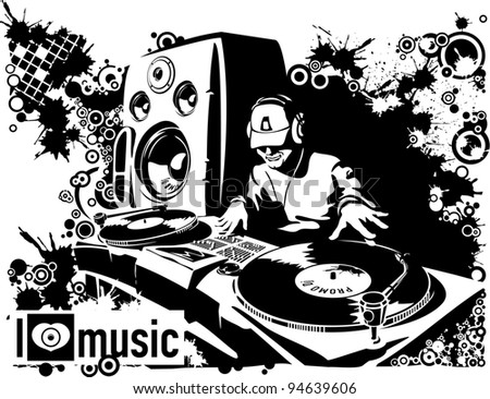 The DJ executing scratches. Abstraction - stock vector