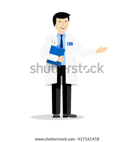 The doctor with blue folder pointing on something - stock vector
