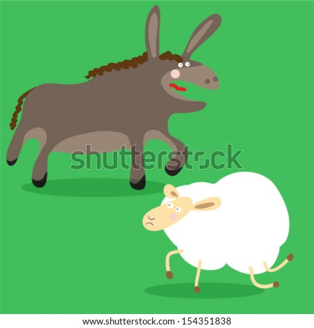 The Donkey and the sheep - stock vector