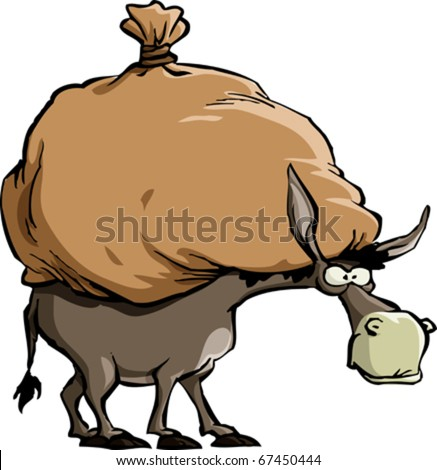 The donkey carries a large bag, vector - stock vector