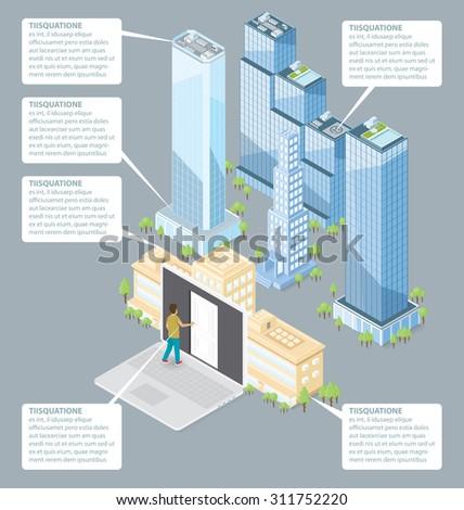 The door to the big city concept. Vector 3d flat isometric door, man and office building - stock vector