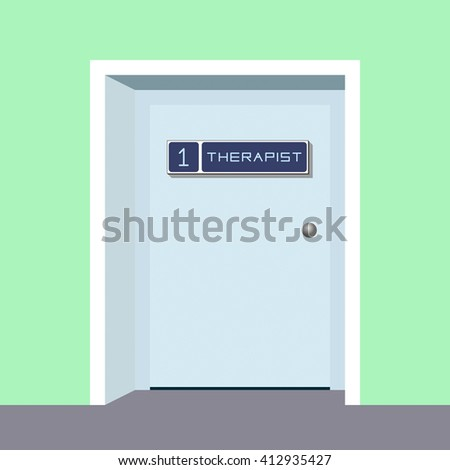 The door to the office of the therapist at the clinic. Medicine.