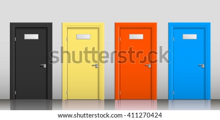 The doors of different colors with signs on a gray wall