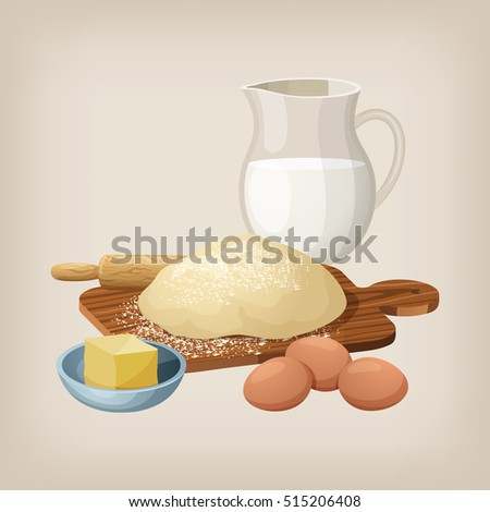 The dough on the board with a rolling pin. Eggs, butter, and milk jug. Vector illustration.