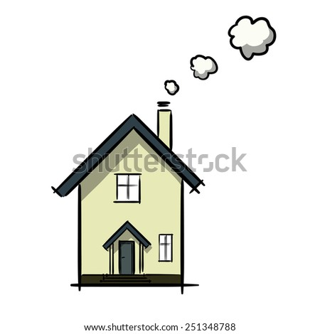 The drawing of a facade of the house. A children's sketch. House cartoon. Color image. - stock vector