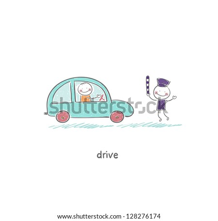 The driver and a policeman - stock vector