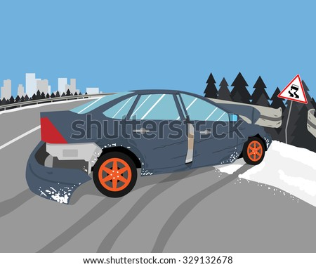 The driver lost control on a slippery road and the car skidded. Vector illustration - stock vector