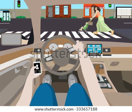 The driver was distracted by ringing phone and noticed a woman with a stroller on the road. Vector illustration - stock vector