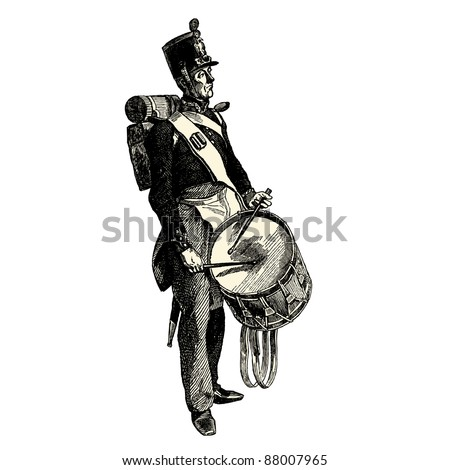"""The drummer - Vintage engraved illustration - """"Les Francais"""" by L.Curmer in 1842 France - stock vector"""